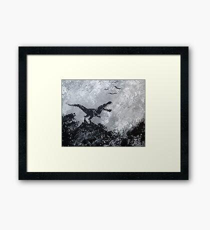 Tyrannosaurus in Black and White Framed Print