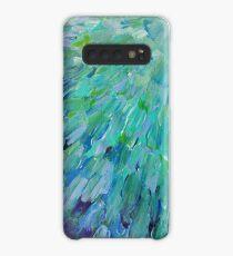 SEA SCALES - Beautiful BC Ocean Theme Peacock Feathers Mermaid Fins Waves Blue Teal Abstract Hülle & Klebefolie für Samsung Galaxy