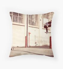 Austyn Gillette - Backside Flip - Los Angeles - Photo Aaron Smith Throw Pillow