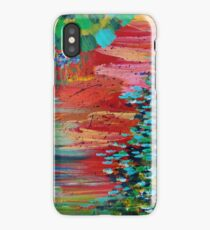REVISIONED RETRO - Bright Bold Red Abstract Acrylic Colorful Painting 70s Twist Vintage Style Hip iPhone Case