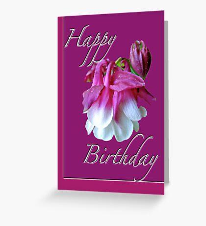 Birthday Greeting Card - Columbine Flower Greeting Card