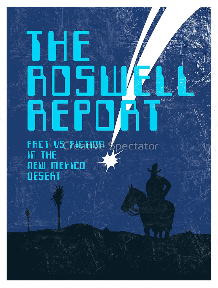 Retro 'The Roswell Report' Book Cover Print by Creative Spectator
