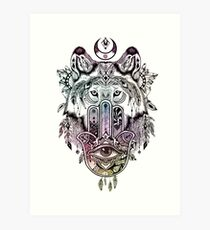 Hamsa Wolf Protection Art Print
