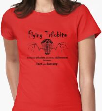 Flying Trilobite - atheists know diff between fact & fantasy Womens Fitted T-Shirt