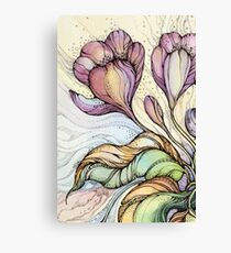 Crocus.Hand drawn watercolor and ink drawing Canvas Print