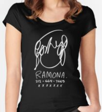 Ramona Flowers (on Black) Women's Fitted Scoop T-Shirt