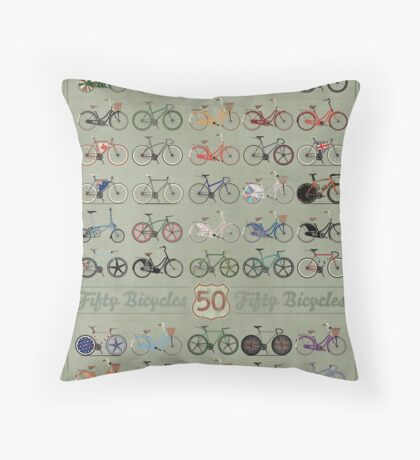 Fifty Bicycles Throw Pillow