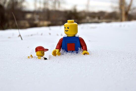 Father/Son Snowy Hike by Dan Phelps