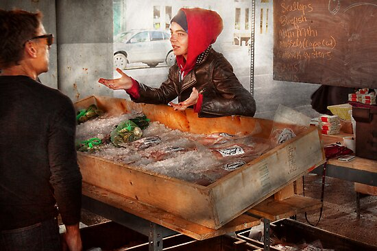 Bazaar - I sell fish  by Mike  Savad