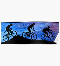 Three Mountain Bikers at Dusk Poster