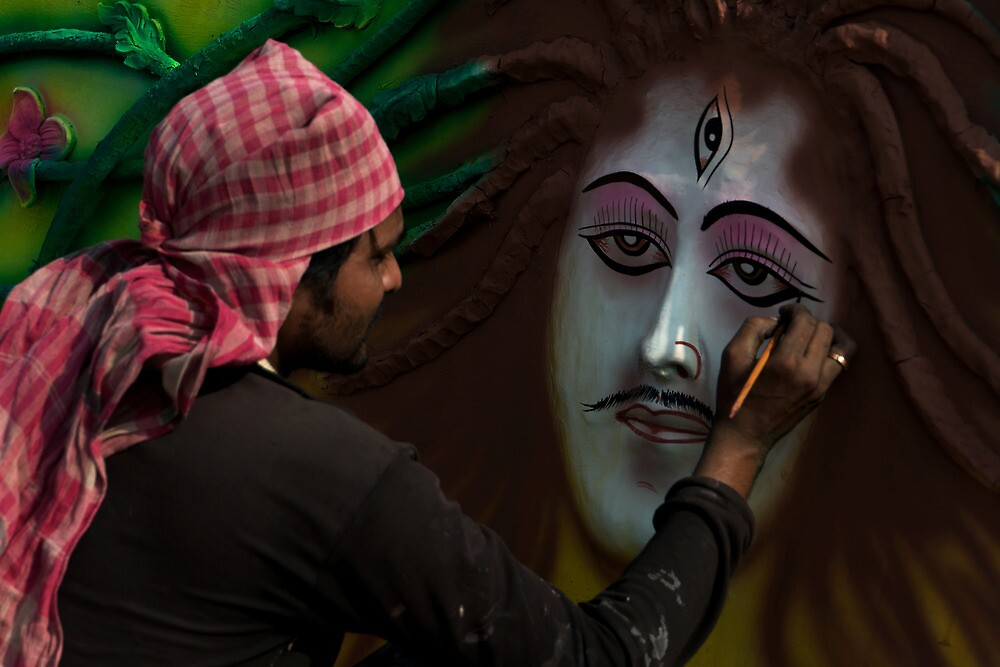 The Artist at Work-1 by Mukesh Srivastava
