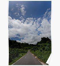 Landscape and tarmac road, Vanuatu, South Pacific Ocean Poster