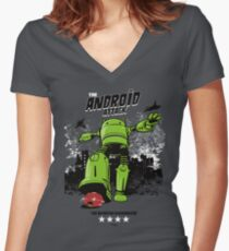 ANDROID ATTACK Women's Fitted V-Neck T-Shirt