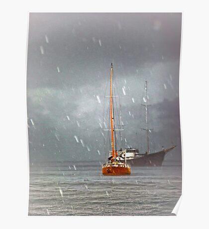 Riding out a rainstorm Poster