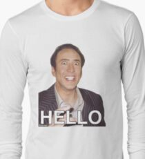 Nicolas Cage - HELLO Sticker Long Sleeve T-Shirt