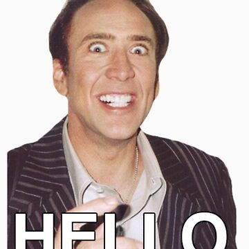 Nicolas Cage - HELLO Sticker by F7James