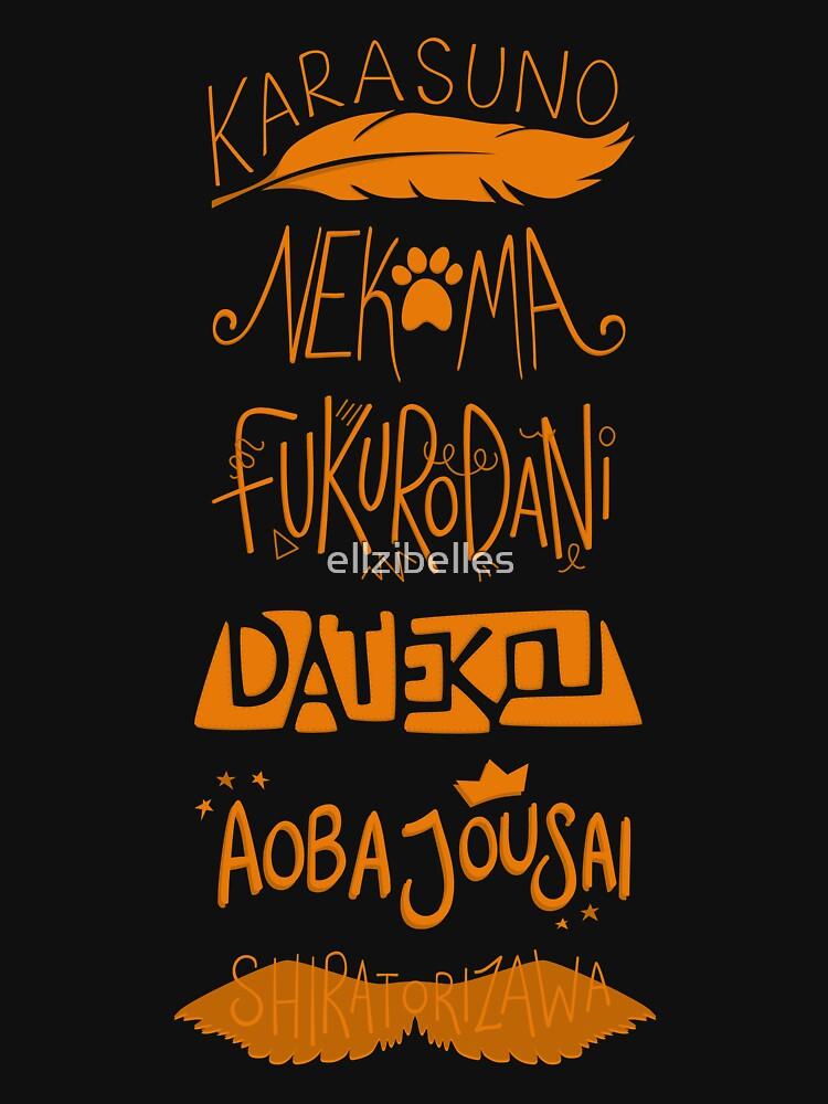 Haikyuu!! Teams - Karasuno Orange by ellzibelles
