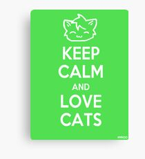 Keep Calm and Love Cats (Green) Canvas Print