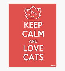 Keep Calm and Love Cats (Red) Photographic Print