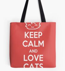 Keep Calm and Love Cats (Red) Tote Bag