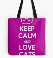 Keep Calm and Love Cats (Purple) Tote Bag