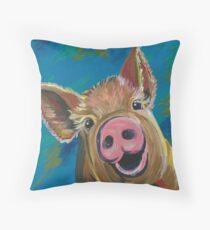 Colorful Pig Art  Throw Pillow