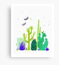 Green Cacti Watercolour & Bats Canvas Print