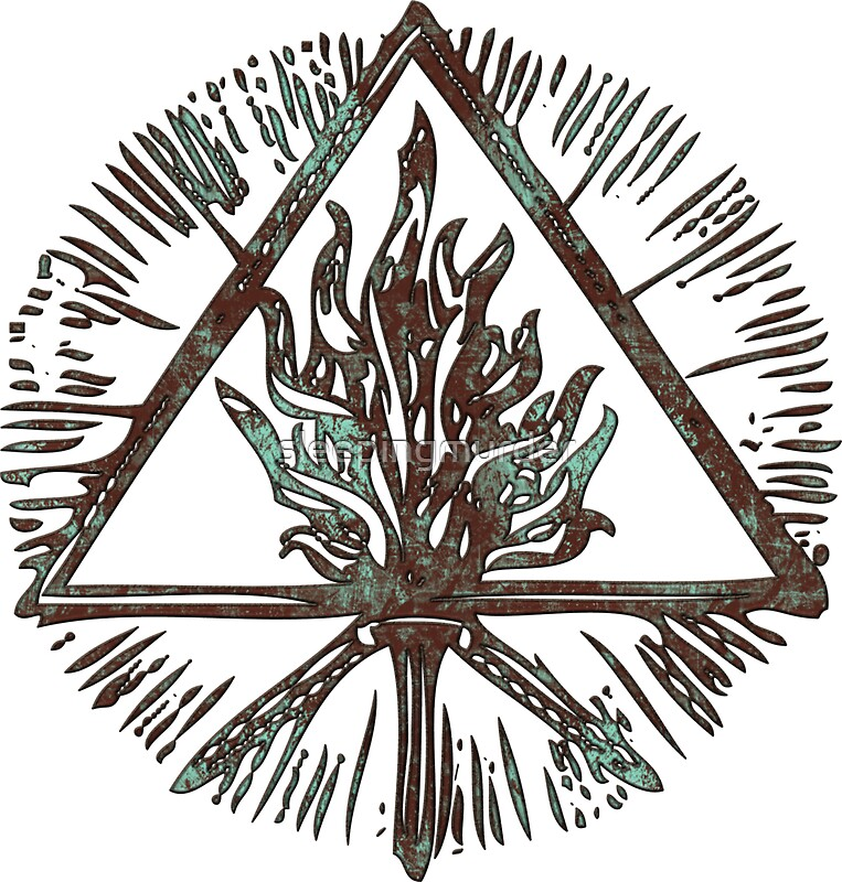 """ANCIENT FIRE SYMBOL - aqua grunge"" Stickers by ..."