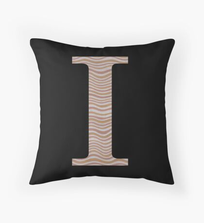 Letter I Metallic Look Stripes Silver Gold Copper Throw Pillow