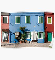 Blue House, Burano, Venice Poster