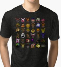 Multiple characters (New set) - Five Nights at Freddy's - Pixel art  Tri-blend T-Shirt