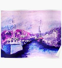 Small fishing harbor , watercolor Poster