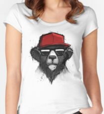 Cool Bear with Red Hat - Streetwear Style Design Women's Fitted Scoop T-Shirt