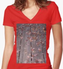 Weathered Boardwalk Hiking Trail Women's Fitted V-Neck T-Shirt