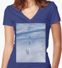 Unique Footprints in the Snow  Women's Fitted V-Neck T-Shirt