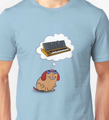 Moog the Dog thinking of a Moog Synth T-shirt