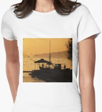 Begging Seagulls....Benitses, Corfu Women's Fitted T-Shirt