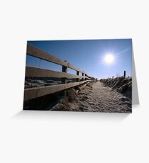 snow covered path on cliff edge walk Greeting Card