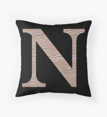 Letter N Metallic Look Stripes Silver Gold Copper Throw Pillow