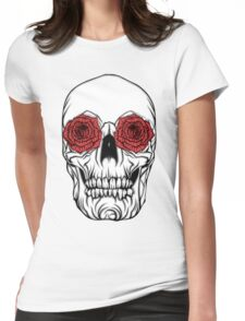 Skull and Roses Womens Fitted T-Shirt