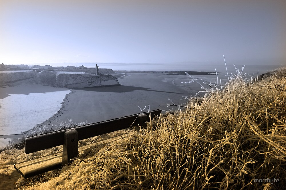 view in winter to ballybunion castle and sepia bench by morrbyte
