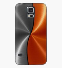 Orange and Silver Stainless Shiny Steel Metal Case/Skin for Samsung Galaxy