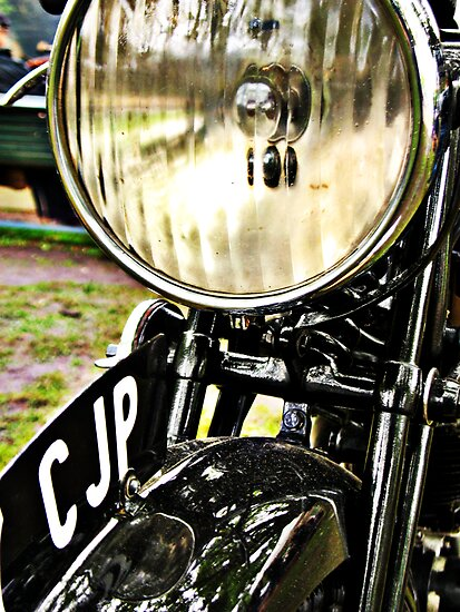 Vintage Motorcycle Headlight And License Plate Posters By
