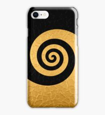 Gold and Black Stainless Shiny Steel Metal Swirl Pattern iPhone Case/Skin