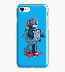 Blue Toy Robot Splattery Shirt iPhone Case/Skin