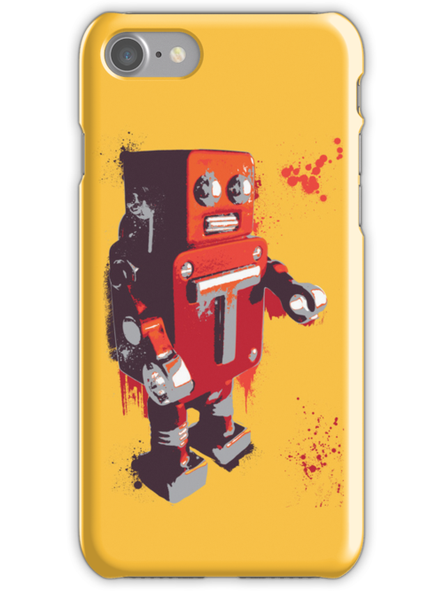 Red Tin Robot Splattery Shirt or iPhone Case by thedailyrobot