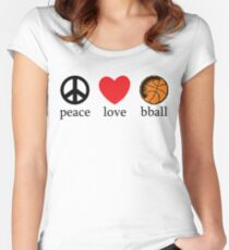 Peace Love Basketball Women's Fitted Scoop T-Shirt