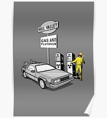 Back to the Future Delorean 'Hill Valley Gas Station' Poster