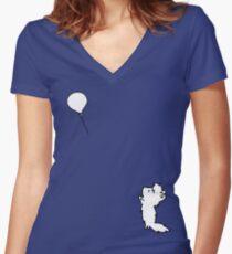 My balloon!! =TT_TT= Women's Fitted V-Neck T-Shirt