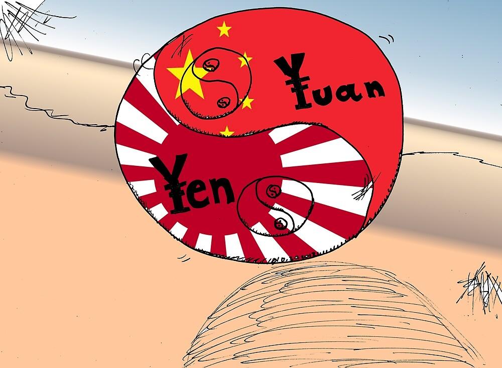 Ying Yang Yen Yuan business cartoon by Binary-Options